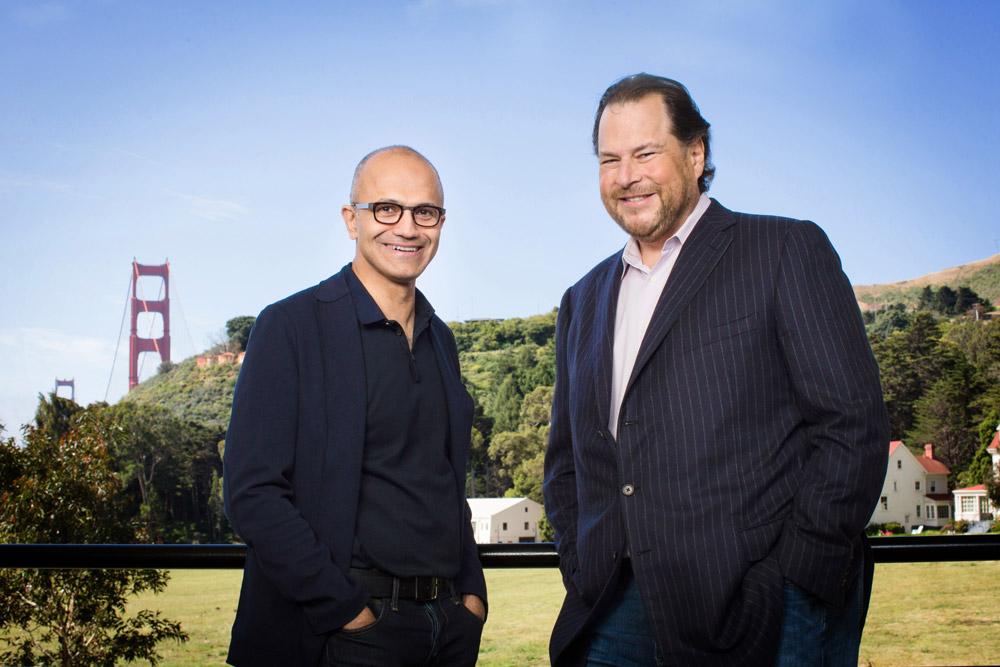 Microsoft chief executive Satya Nadella, left, and Salesforce chief executive Marc Benioff.