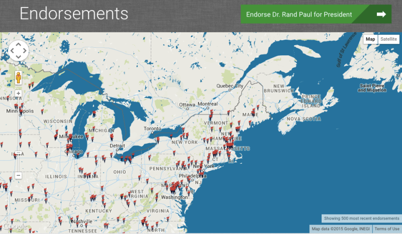Rand Paul's frequently updated interactive endorsement map.