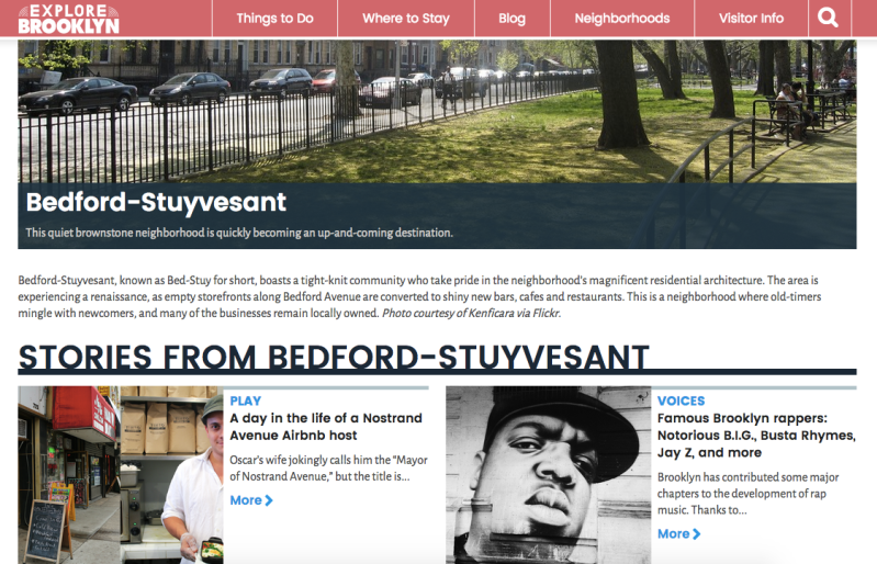 Explore Brooklyn website screenshot