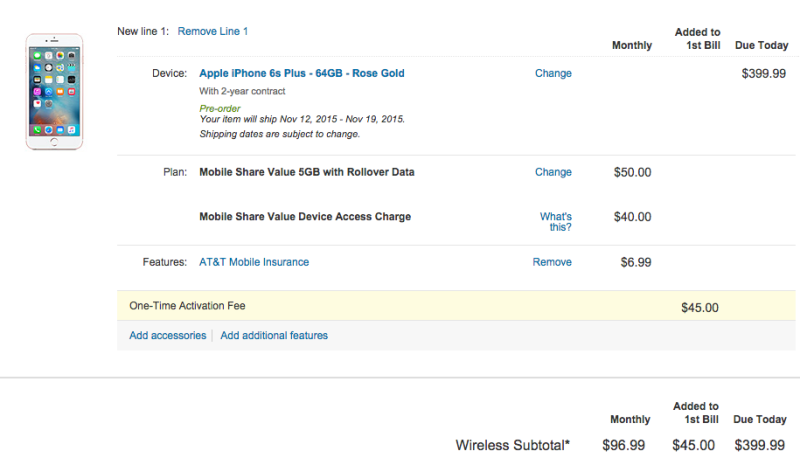 Buying a new iPhone 6s from a carrier, with a new service plan, would look something like this. Ouch.