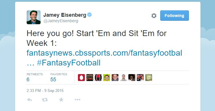 Twitter is where a number of fantasy football experts hang out.