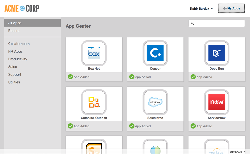 VMware Identity Manager Advanced Edition's self-service app catalog.