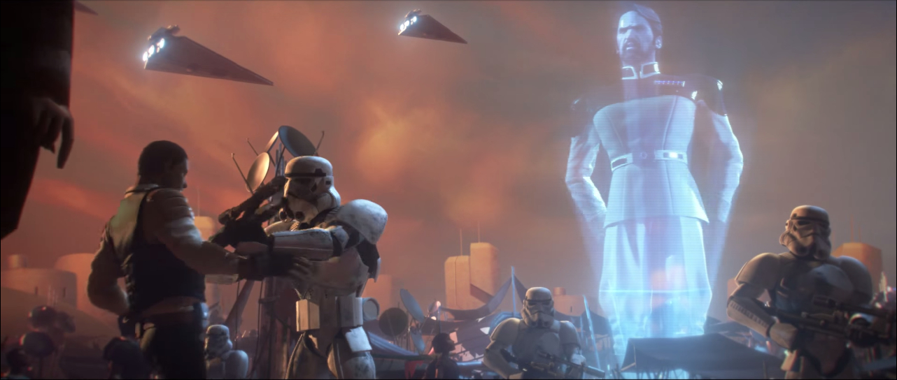 Governor Adelhard addresses some of Anoat's citizens in Star Wars: Uprising.