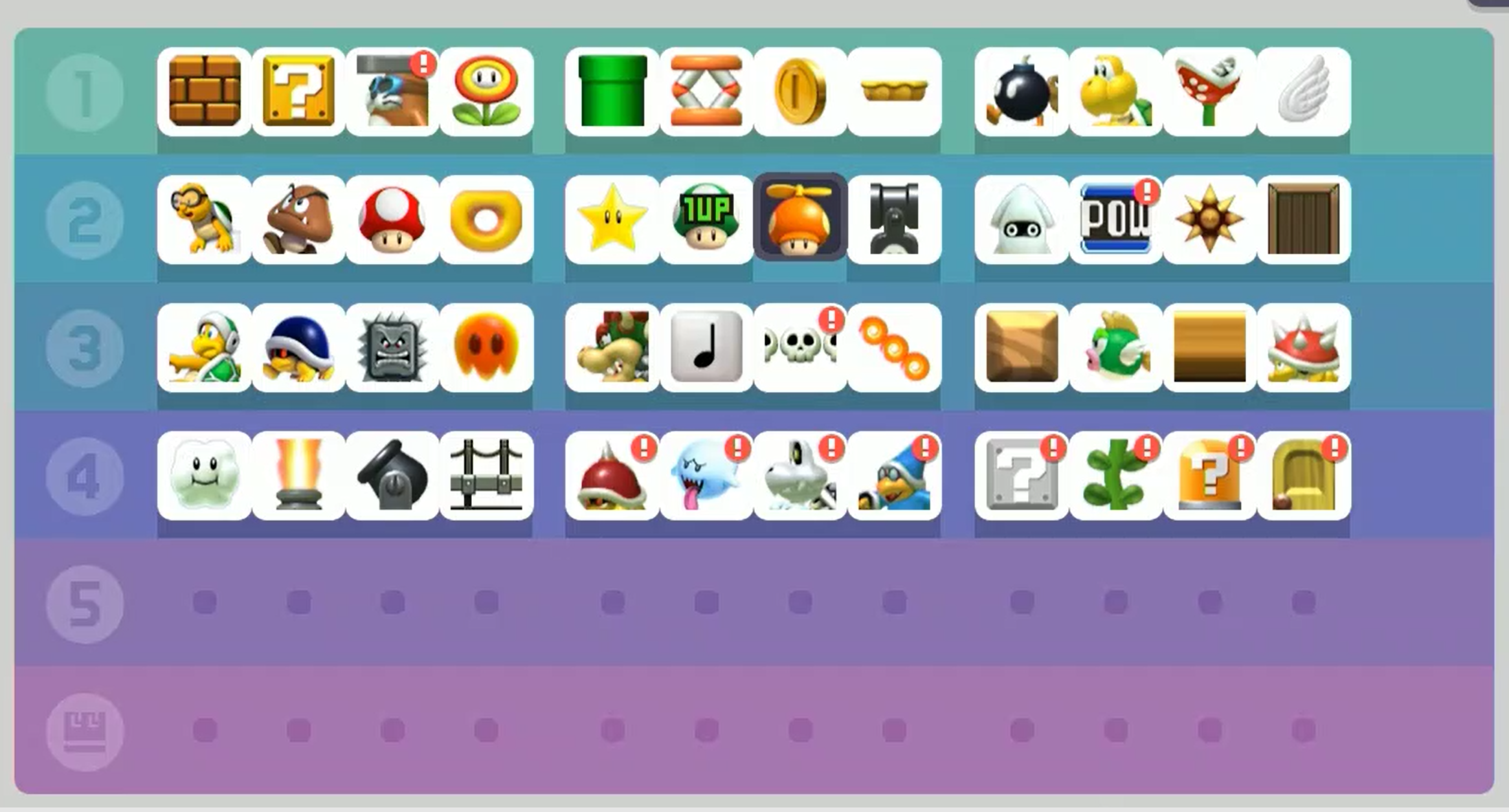 Some of the items in Super Mario Maker.