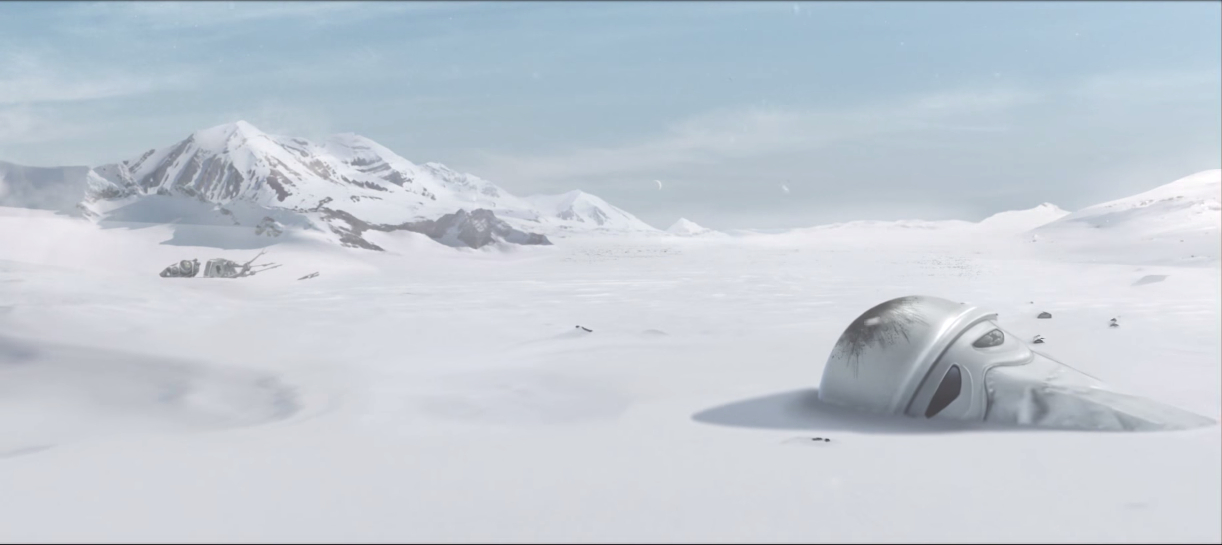 One might take that Snowtrooper's discarded, buried helmet as a metaphor for the Empire.