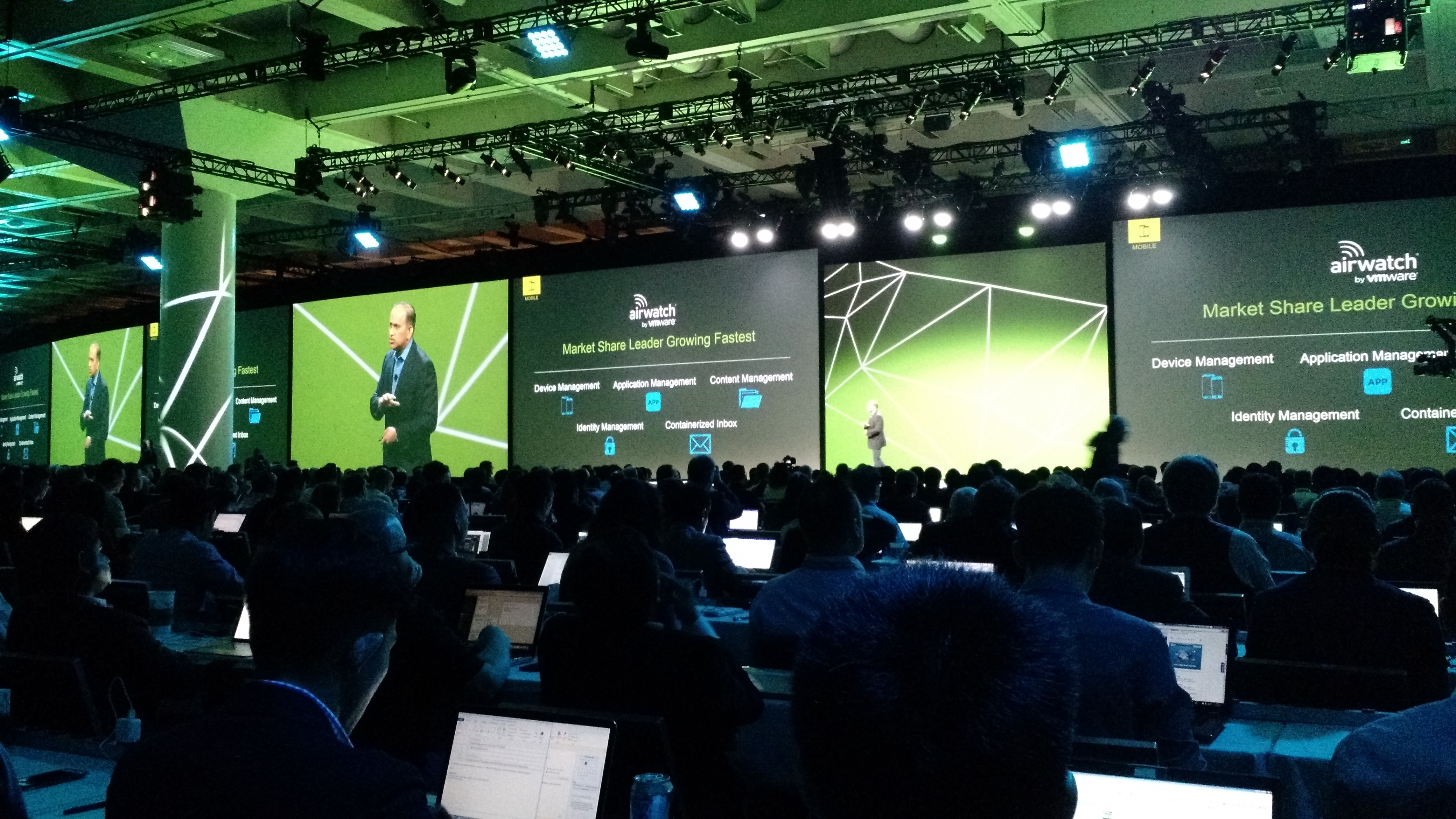 VMware's Sanjay Poonen speaks at the company's VMworld conference in San Francisco on Sept. 1.