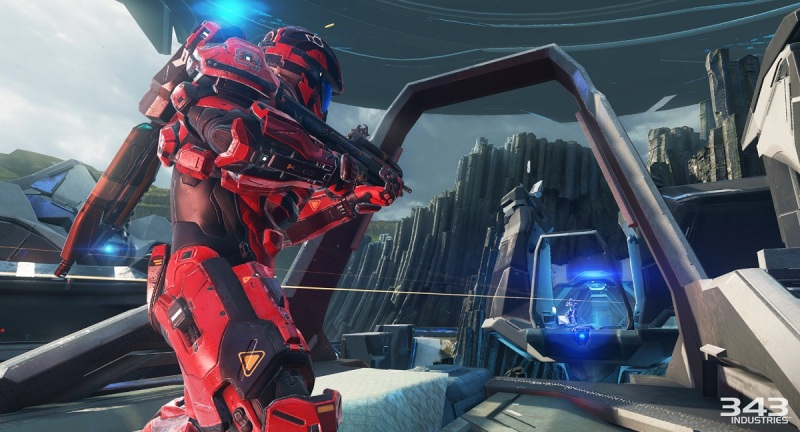 Grab a good weapon in Arena mode on Coliseum map in Halo 5: Guardians