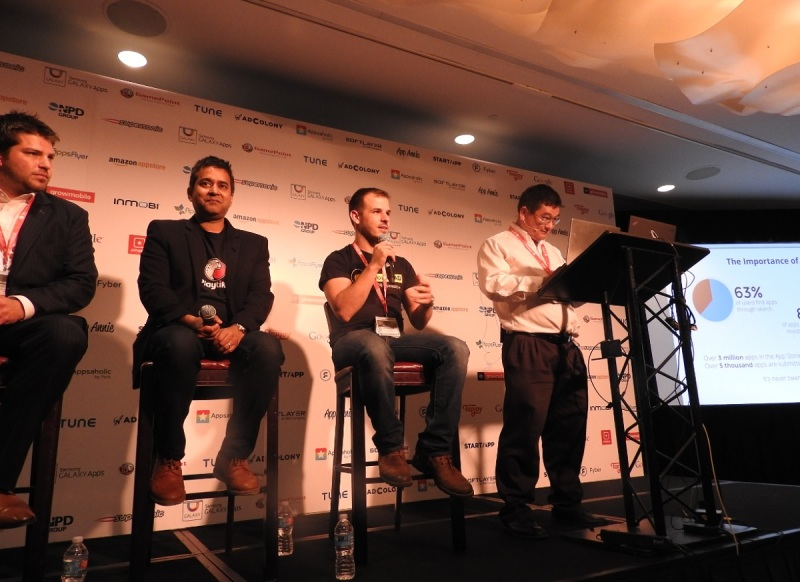 Left to right: Blake Pollack of The ASO Project, Jeet Niyogi of Playtika Canada, and Yonatan Dotan of YellowHead, and Dean Takahashi of VentureBeat.