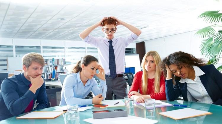 An office team not enjoying work
