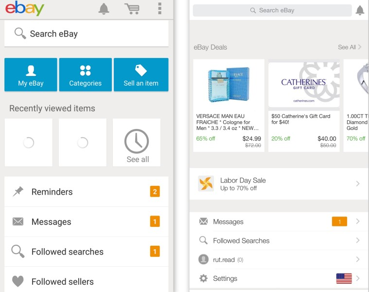 eBay Android app on left; eBay iOS app on right.