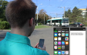 A passenger uses Onyx's Smart Public Transport beacon-enabled app