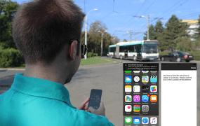 A passenger uses Onyx's Smart Public Transport beacon-enabled app