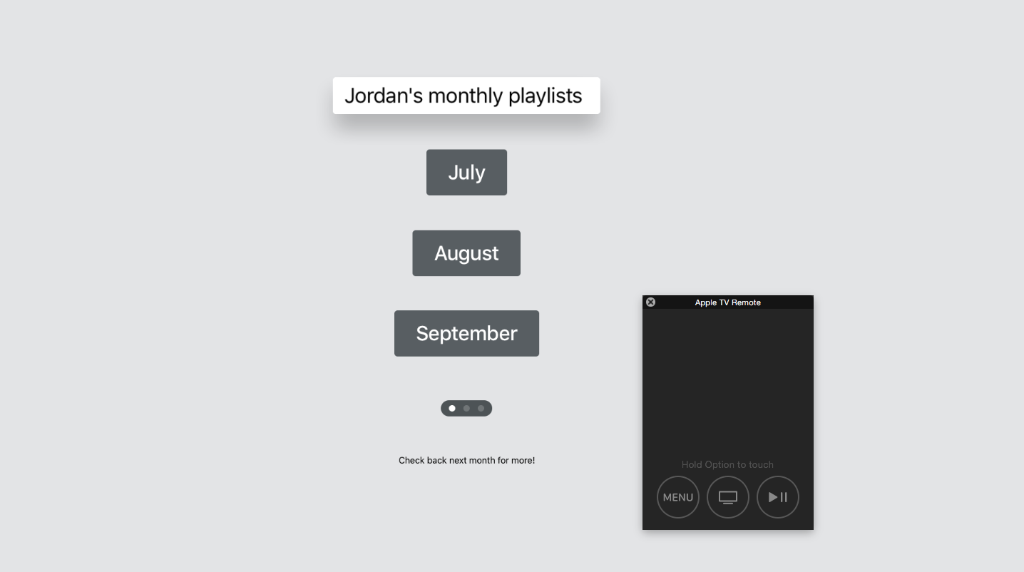 An Apple TV app I built to release new music playlists each month.