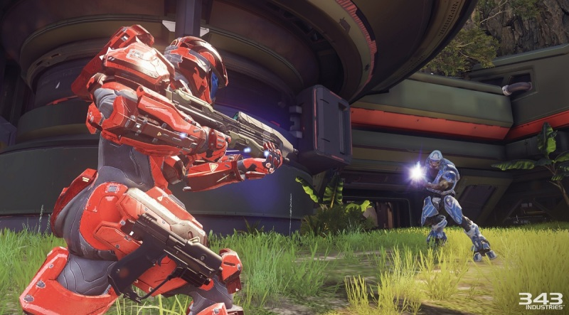 Red vs. Blue again in Warzone map on Halo 5: Guardians multiplayer.