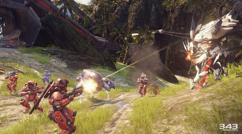 A big firefight in Warzone map on Halo 5: Guardians multiplayer.