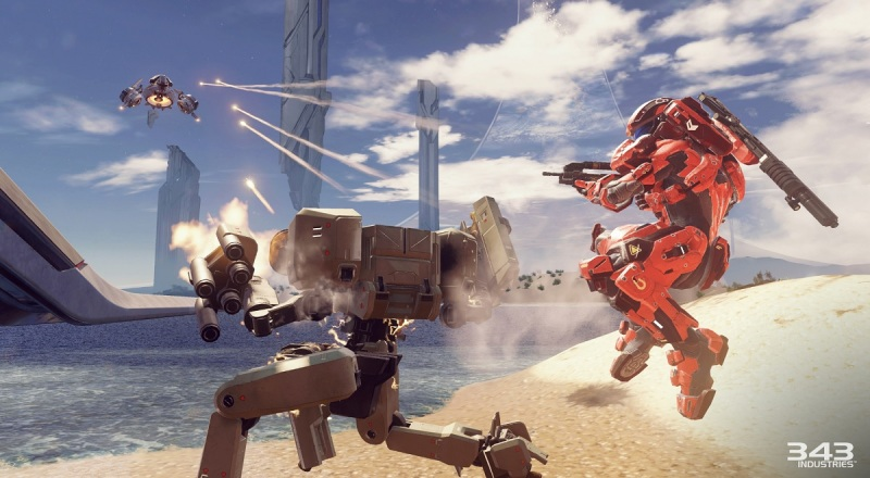 Combat on a Warzone map in Halo 5: Guardians multiplayer.