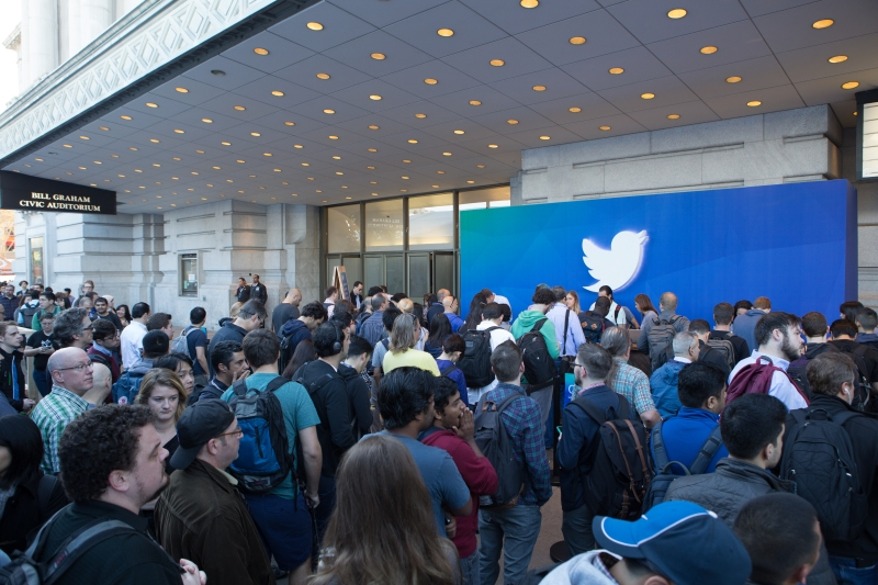 Developers line up in front of the Bill Graham Civic Auditorium in San Francisco, Calif for Twitter's Flight conference on OCtober 21, 2015.