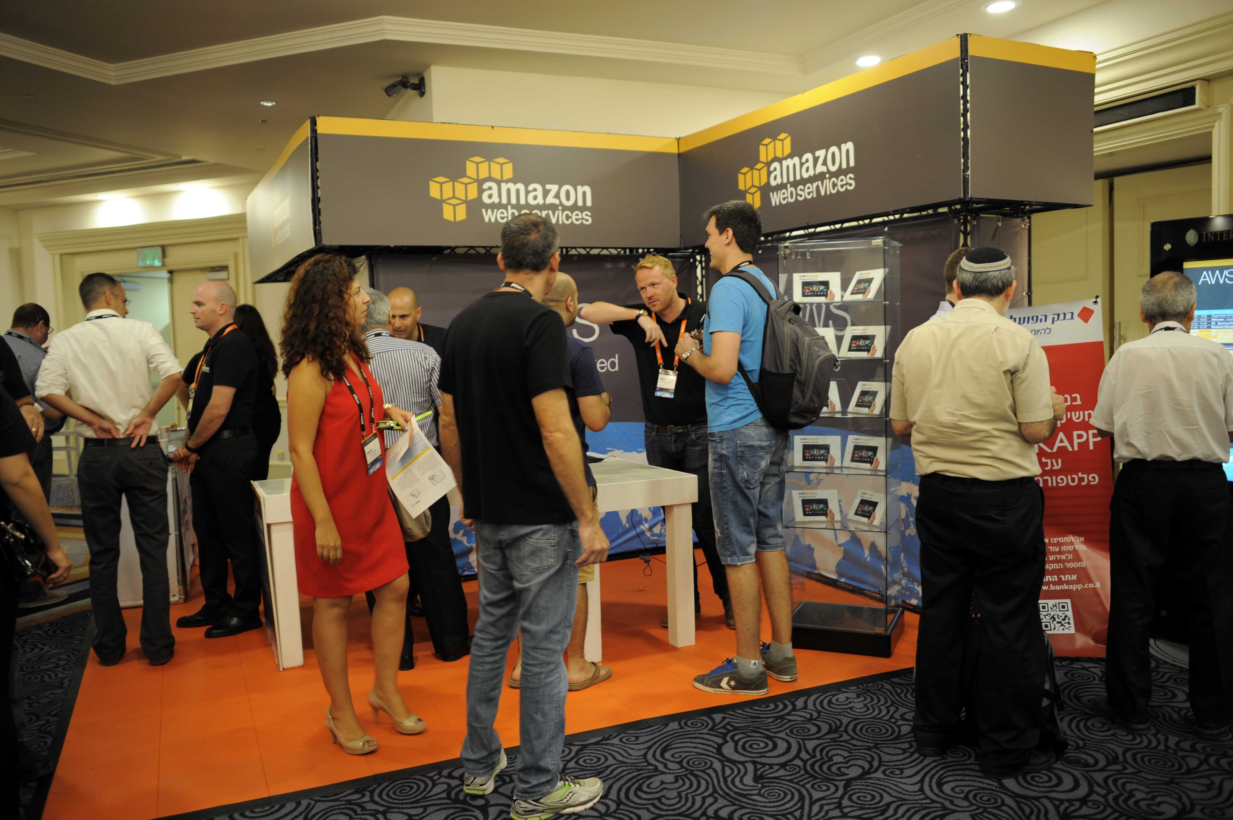 An Amazon Web Services booth at an event.