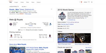 Bing thinks the Royals will beat the Mets in the World Series and I am furious