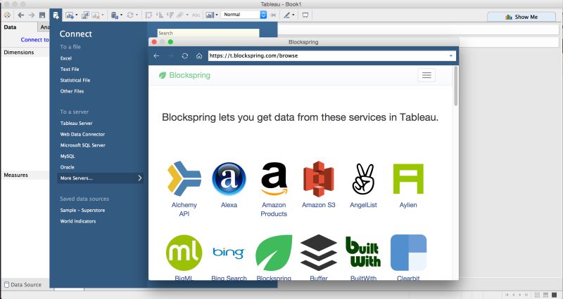 View of Blockspring with API's available in Tableau