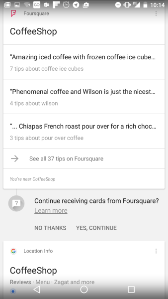 A Foursquare recommendation and a Google recommendation for a San Francisco coffee shop in Google Now.
