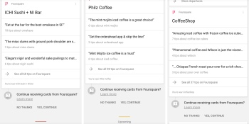 Google is testing Foursquare tips in Google Now, even when the app isn't installed