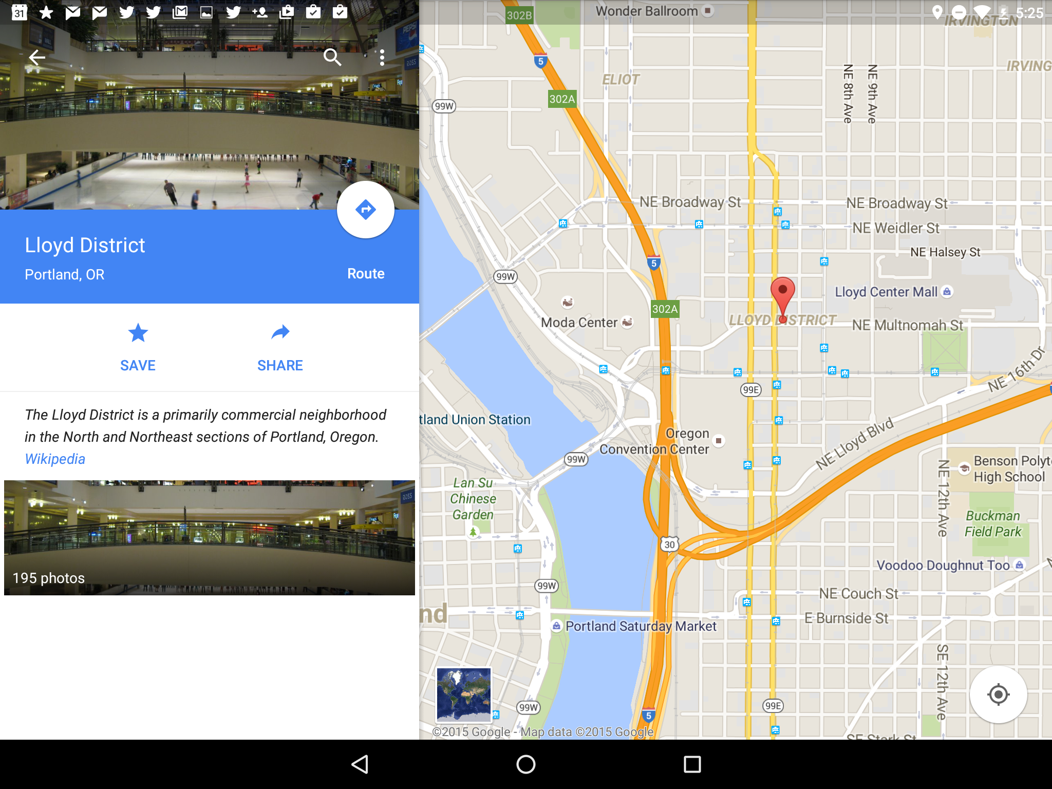 What Google Maps shows me when I click the Maps icon for the Lloyd District in Portland in Google Now on Tap.