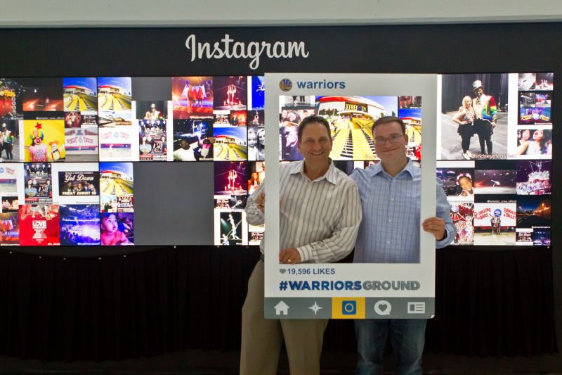 The Golden State Warriors' Instagram photo wall installation at Oracle Arena.