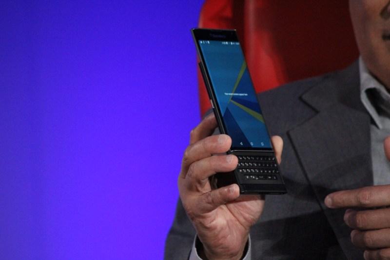 Chen shows off the Blackberry Priv.