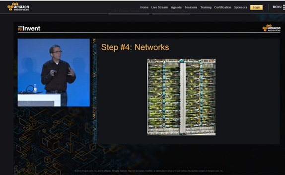 Jerry Hunter showing off Google networking infrastructure during a talk about Amazon Web Services' infrastructure at the 2015 AWS re:invent conference in Las Vegas on Oct. 7.