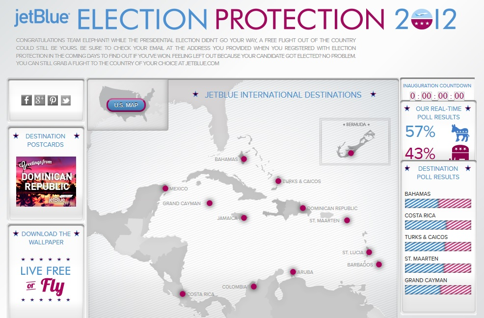 """JetBlue's 2012 """"Election Protection"""" campaign."""