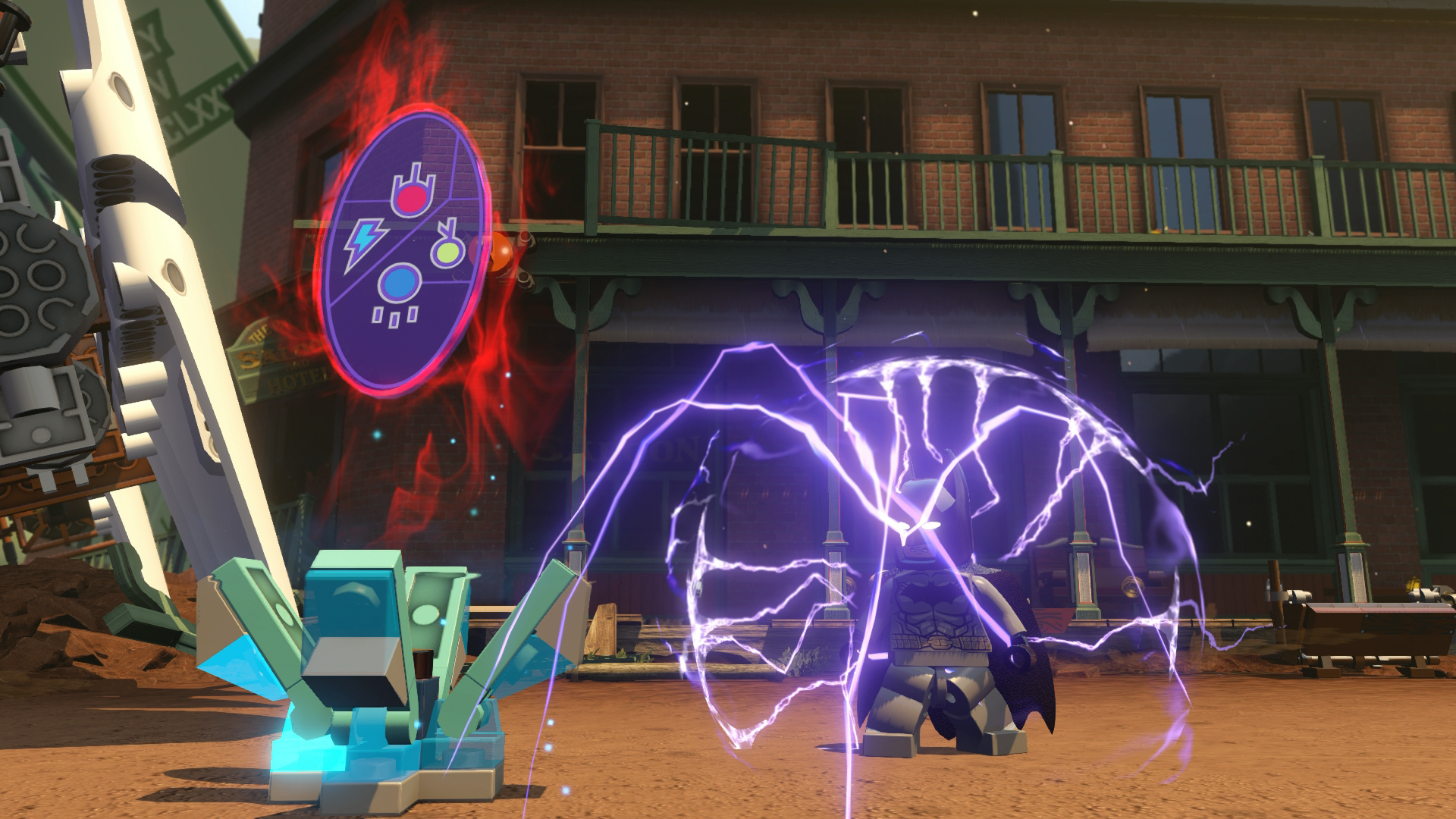 Batman uses the Elemental Keystone to charge himself up.