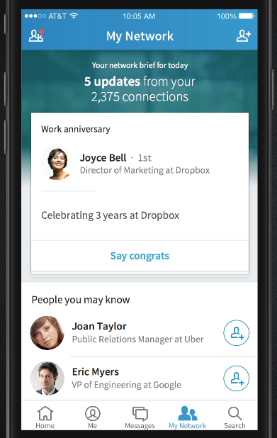 The My Network section in the new LinkedIn core mobile app.
