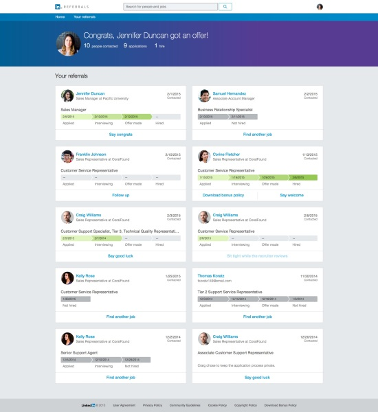 LinkedIn Referrals Employee Updates