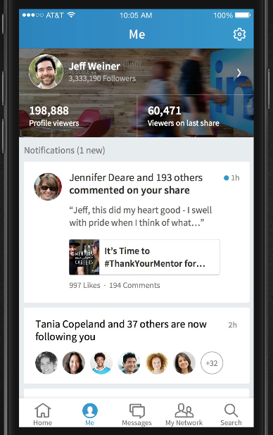 The Me section in the LinkedIn Voyager beta app.