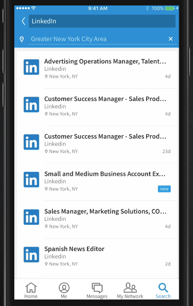The search section in the LinkedIn Voyager beta.