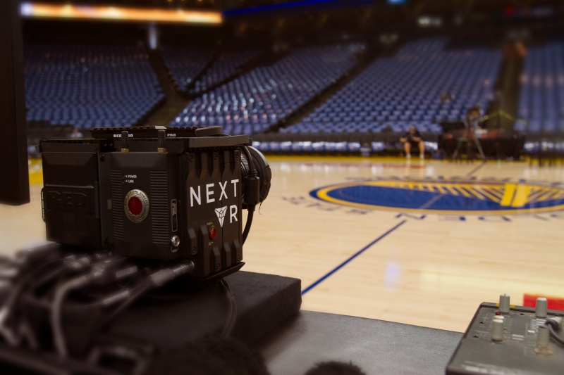 NextVR camera positioned courtside at Oracle Arena for the NBA's Golden State Warriors' game against the New Orleans Pelicans on October 27, 2015 from Oakland, Calif.