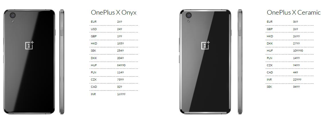 OnePlus X Pricing