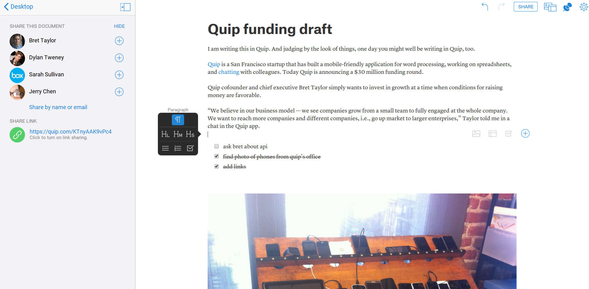 Word processing app Quip raises $30M from Greylock and Benchmark