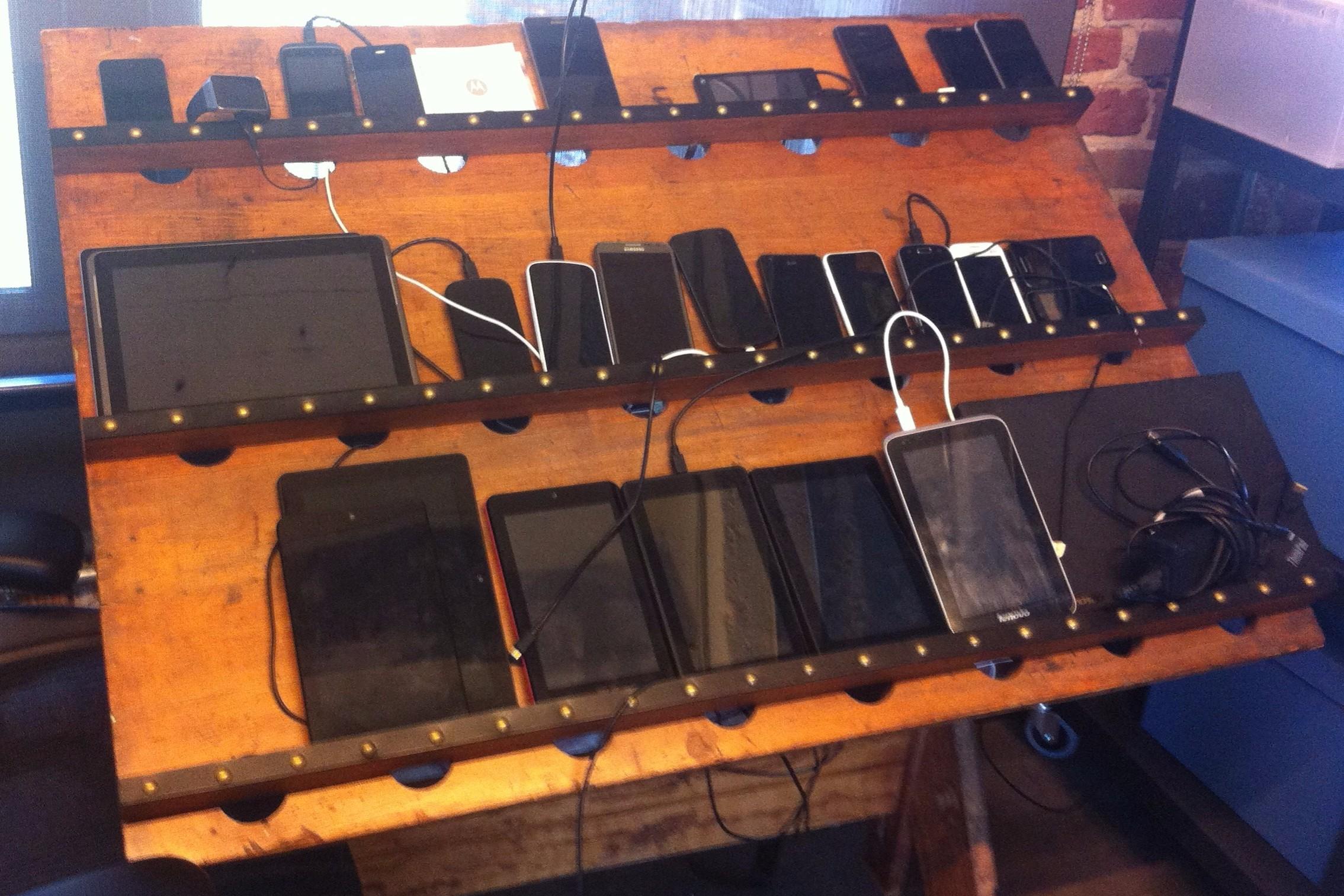 A device farm at Quip headquarters in San Francisco.