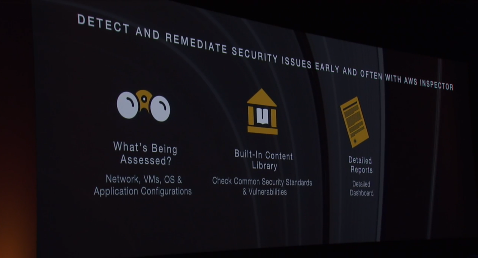 Amazon Web Services introduces the Amazon Inspector service in preview at the AWS re:Invent conference in Las Vegas on Oct. 7.