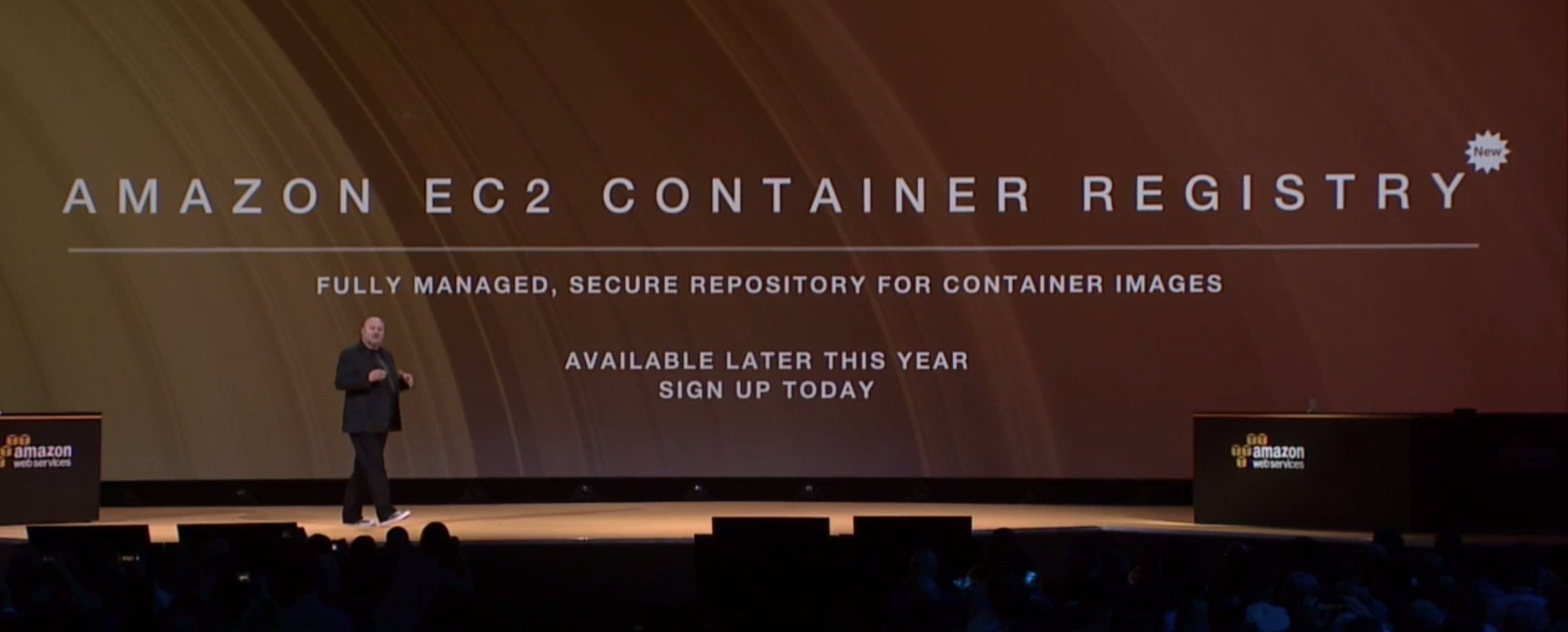 Amazon chief technology officer Werner Vogels announces the EC2 Container Registry at the AWS re:Invent conference in Las Vegas on Oct. 8.