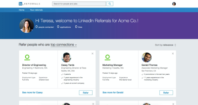LinkedIn launches Referrals site to let employees recommend