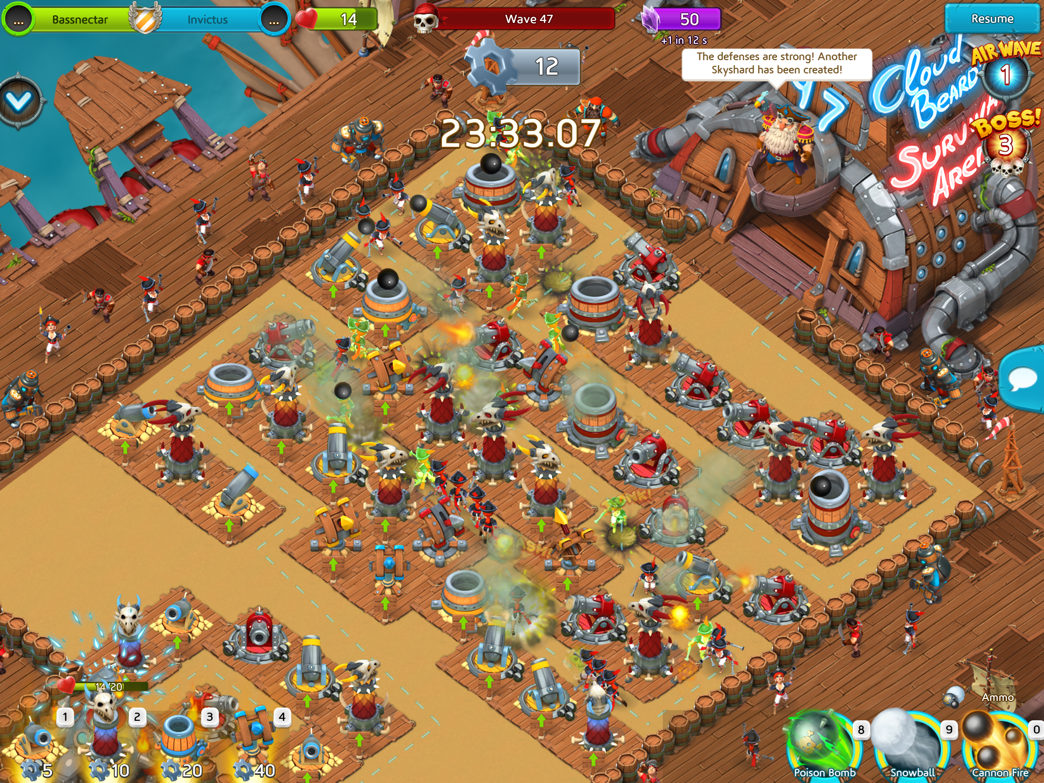 Defend those towers in Cloud Raiders: Survival Arena.