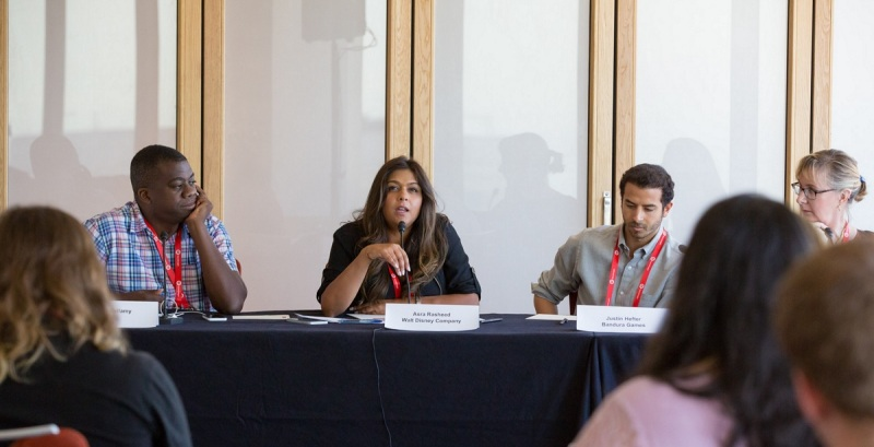 Gordon Bellamy, Asra Rasheed, and Justin Hefter at GamesBeat 2015's diversity panel.