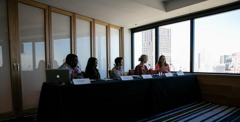Diversity panel at GamesBeat 2015. Left to right: Gordon Bellamy, Asra Rasheed, Justin Hefter, Megan Gaiser, and Katy Jo Meyer.