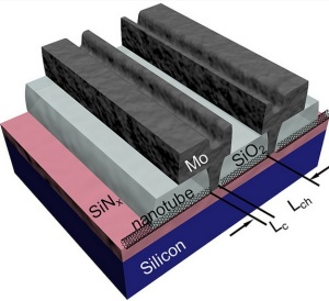 A cross section of a chip with IBM's carbon nanotubes.