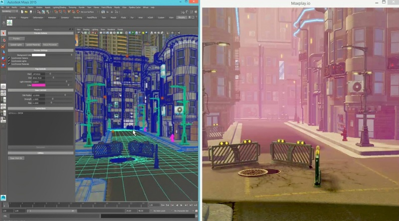 The MaxPlay Game Development Suite lets you view tools (such as Maya) in real-time.