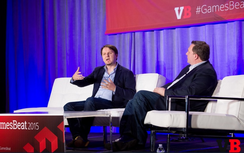 Mihai Pohontu of Samsung (left) and Greg Short of IEP at GamesBeat 2015.