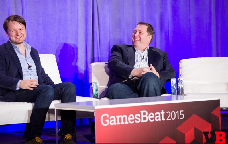 Mihai Pohontu (left) of Samsung and Greg Short of IEP at GamesBeat 2015.